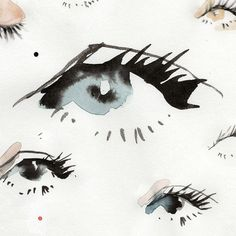 Simple watercolor art that is loose, and effortless. Eye drawing creative at its best. Creative eye doodles with watercolors. Abstract Watercolor Tutorial, Watercolor Eyes, Easy Watercolor, Watercolor Sketch, Watercolor Paintings, Illustration Art Drawing, Art Drawings, Illustrations, Hand Lettering Art