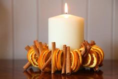 Autumn Candle idea = yr round for kitchen smells great with cinnamon sticks