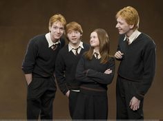 Ginny, Ron, Fred, and George Weasley