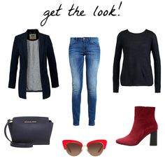 BLOG DE MODA Y LIFESTYLE. Black sweater+skinny jeans+red ankle boots+navy jacket+navy crossbody bag+red eye cat sunglasses. Fall Everyday Outfit 2016