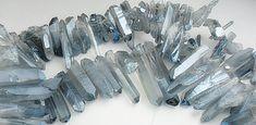 Quartz Points, Mystic Coated Blue Gray Gemstone Beads, Dagger Shape Quartz,  Mystic Transparent finish