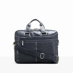 """Kenneth Cole """"Take The Op-Port-unity"""" Leather Double Gusset Laptop Briefcase (Black) - FrenzyStyle Luggage Store, Luggage Sets, Cowhide Leather, Soft Leather, Laptop Briefcase, Luxe Life, Best Deals Online, Online Bags, Shoulder Strap"""