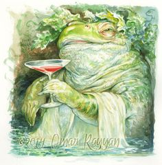 Bufo knows how to have a good time-- come join the party!    Original watercolor painting, image size approx. 7x7
