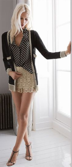 Fashion ,  Lace ,chiffon blouse ,cashmere sweater and a great set of legs to pull it off