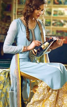 Sky Blue Chiffon Salwar Kameez