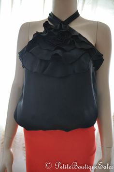 NEW BLACK SATIN RUFFLE BACK TIE TOP SHIRT BLOUSE SIZE S SMALL WOMEN'S CLOTHING