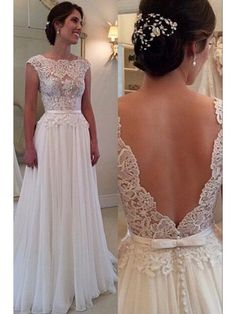LOW BACK CAP SLEEVES LACE 2016 BEACH WEDDING DRESS