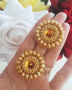 Gold Temple Jewellery, Silver Wedding Jewelry, Gold Jewellery Design, Buy Earrings, Beaded Earrings, Beaded Jewelry, Gold Mangalsutra Designs, Gold Earrings Designs, Mehndi Designs For Hands