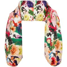 Cushnie et Ochs Carlita Off-The-Shoulder Top (26,480 THB) ❤ liked on Polyvore featuring tops, floral, off the shoulder tops, floral crop top, white off the shoulder top, flower print top and floral off the shoulder top
