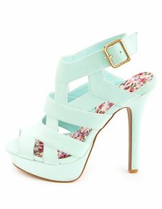 Strappy Caged Peep Toe Platform Heels: Charlotte Russe