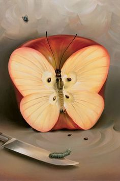 Vladimir Kush butterfly apple painting for sale - Vladimir Kush butterfly apple is handmade art reproduction; You can shop Vladimir Kush butterfly apple painting on canvas or frame. Vladimir Kush, Surrealism Painting, Painting Art, Cool Paintings, Beautiful Paintings, Love Art, Amazing Art, Art Photography, Photos