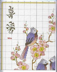 ♥Meus Gráficos De Ponto Cruz♥: Quadro Oriental: Pássaros e Cerejeira em Flor