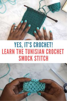 Learn the Tunisian Crochet Smock Stitch Yes, it's crochet! Learn the Tunisian Crochet Smock Stitch *Video Tutorial* You've been looking for a clear tutorial for this stitch forever! Well, it's finally here, and it has a name: The Tunisian Smock Stitch. Tunisian Crochet Patterns, Sweater Knitting Patterns, Crochet Granny, Loom Knitting, Free Knitting, Beginner Crochet Tutorial, Crochet For Beginners, Crochet Basics, Crochet Hooks