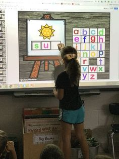 We love build a word. Once we do it all together on the SMART board, I assign it. Smart Board Activities, Smart Board Lessons, Kindergarten Activities, Preschool, Spelling Activities, Class Activities, Reading Activities, Math Games, Kindergarten Language Arts