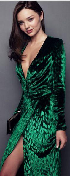 Hot. (Dress - Gucci Velvet V-Neck Wrap Dress)