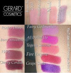 Gerard Cosmetics lipstick swatches