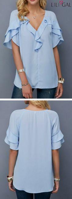 Baby Blue V Neck Tulip Sleeve Blouse #liligal #top #blouse #shirts #tshirt
