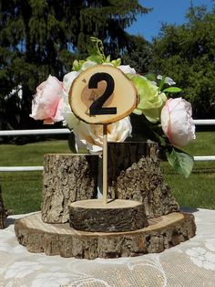 SIX Standing Log Slice Table Numbers  - Woodland Wedding - Unique Wedding Decor - Rustic Table Number - Rustic Home Decor - Country Wedding