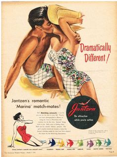 JANTZEN AD  MATCHING SWIMSUITS  AUSTRALIAN Vintage Advertising 1951 Original Ad #JANTZEN