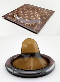 """Georgia Republic architect, Irakli Kiziria, has designed a Louis Vuitton condom, enveloped in the label's notorious brown packaging and adorned with, what looks like, raised lettering (for enhanced pleasure?). The luxury rubbers are priced at $68 each, according to the """"official"""" website. To put the price in perspective, $68 could buy you about six 12-packs of regular condoms. This is ridiculous.  Tumblr, FB post"""