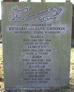 The Grindon family lost 5 children in one week St. Lawrence, Warslow, Staffordshire