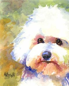 Bichon Frise Art Print of Original Watercolor Painting About the Print: This Bichon Frise open edition art print is from an original painting by Ron Krajewski. Art print measures inches and is printed on museum quality heavy weight texture