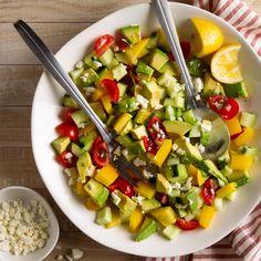 Summer Avocado Salad Summer Side Dishes, Healthy Side Dishes, Side Dishes Easy, Main Dishes, Avocado Salad Recipes, Cucumber Salad, Grape Salad, Pea Salad, Salad Bar