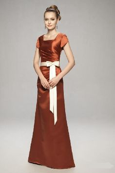 Rust red square A-line short sleeves pleated sash bowknot floor Bridesmaid Dress BD249112