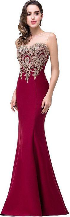 Burgundy Mermaid Evening Dress
