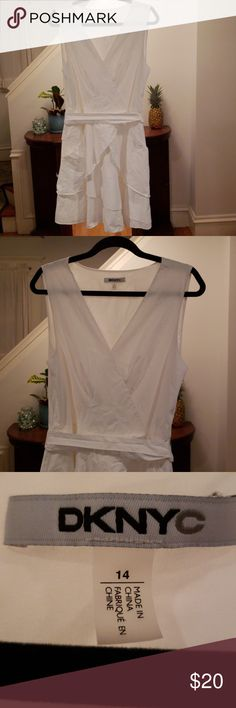 b13a00b73f DKNYC Dress -Beautiful dress in great condition. -White with tiered  ruffles. -