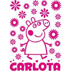 Peppa Pig, #vinilo decorativo #infantil personalizado con nombre