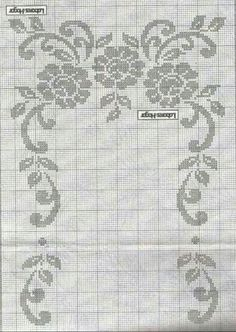 Filet Crochet Charts, Crochet Borders, C2c, Handicraft, Hand Embroidery, Diy And Crafts, Projects To Try, Cross Stitch, Bullet Journal