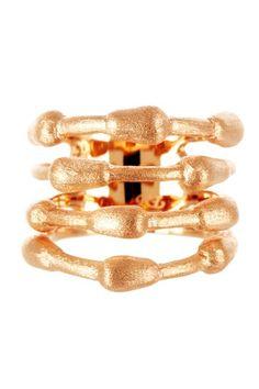 18K Rose Gold Clad Satin Bamboo Wrap Ring by Rivka Friedman on @HauteLook