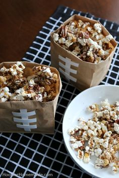 Treat your Football Fans to this Chocolate Caramel Nut Popcorn! It's the perfect sweet - salty snack for the Big Game! Pin to your Recipe Board!