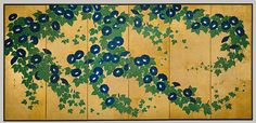 Suzuki Kiitsu - Morning Glories,19th century. Metropolitan Museum. The Rinpa school (or Rimpa) was a key part of the revival in the Edo period of indigenous Japanese artistic interests described by the term yamato-e. Paintings, textiles, ceramics, and lacquerwares were decorated by Rinpa artists with vibrant colors applied in a highly decorative and patterned manner. (Met)