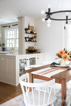 Fall Decorating in My Dining Room #fall #decor #decorating #diningroom #styling Dining Room Storage, Vintage Sideboard, Vintage Chairs, Fall Decorating, Wood Cabinets, Seasonal Decor, Kitchen Dining, Home Goods, Pinterest Board