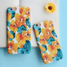 Fashion personality oil painting yellow flowers mobile phone case for iphone 6 6s 6plus 6s plus + Nice gift box!