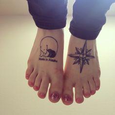 Made in Alaska Polar Bears. compass rose. Anchor. Foot tattoos