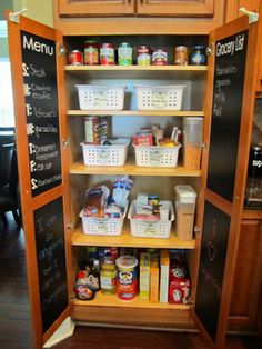 Cute pantry - Use Chalkboard Contact Paper to post your weekly Menu Plan!