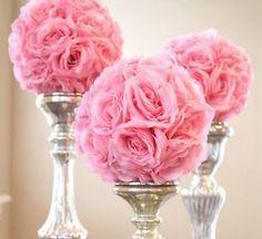 use gold hanging pomander flower kissing balls for outside wedding $7.95 ea