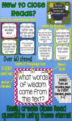 Need some ideas when it comes to asking your students questions or planning Close Reads? This product contains over 60 different comprehension question stems that can be used during reading, science, or social studies. Depending on the purpose and text, you complete the question stems to ask your students questions that encourage higher order thinking skills. Also included: how to use question stems, helpful links, tips, and 2 sets color-coded question stems (informational and literature). $