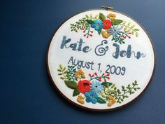 Custom Personalized Embroidery Hoop Art, Wedding / Engagement / Anniversary / Family Name with Florals, Home Decor, Stained Hoop Embroidery by HoffeltAndHooperCo on Etsy