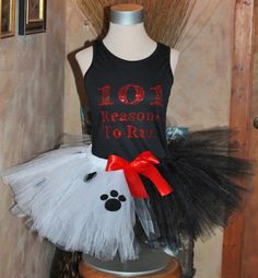 COMPLETE SET Ladies Womens Adult 101 Reasons to Run Rhinestone Tank Top with Cruella De Vil marathon running tutu skirt by HandpickedHandmade Great for the Disney Marathon Princess Races 5K Great Bargain Price for the Set. Dri Fit Racerback tank top. Bling Shirt top. Villains and Heros. See the Dalamation Dog sets also. Top comes in Black or White with Red Rhinestones. Easy diy costume for the marathon run. Great Christmas Holiday gift for a runner