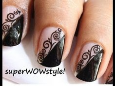 The Lady in Black!  ♡  Water Decals ♡ Lace Nail Art Easy Nail Designs!