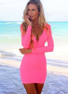 Neon Pink Long Sleeve V-Neck Bodycon Dress,  Dress, neonpink  bodycon  longsleeve  vneck  dress, Chic