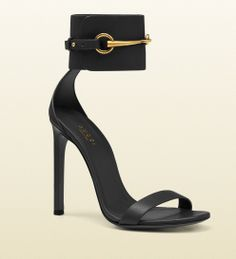 Gucci Black Horsebit Ankle Strap Sandals Spring 2014 #Shoes #Heels