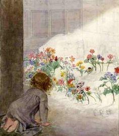 Honor C. Appleton (1879 – 1951, English)  Little Girl In The Garden