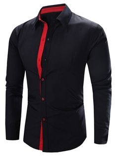 Refreshing Solid Color Turn-Down Collar Long Sleeve Men's Shirt