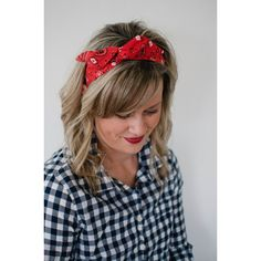 Dolly Bow, Red Bandana, Rockabilly Wire Headband Flexible Pin Up (13 CAD) ❤ liked on Polyvore featuring accessories, hair accessories, red bandana headband, long hair accessories, hair bow accessories, red hair accessories and headband hair accessories