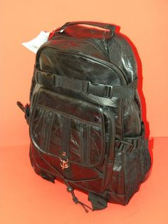 Genuine LAMBSKIN Leather BACKPACK Carry On~Carry All~Patch Leather~Black